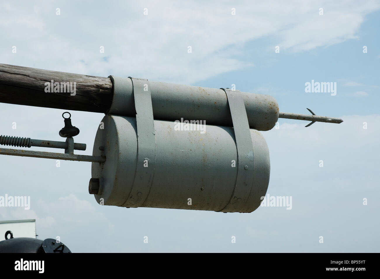 main ram charge on bow of replica of the CSS Hunley built in Mobile Alabama in 1864 first submarine to sink an enemy - Stock Image