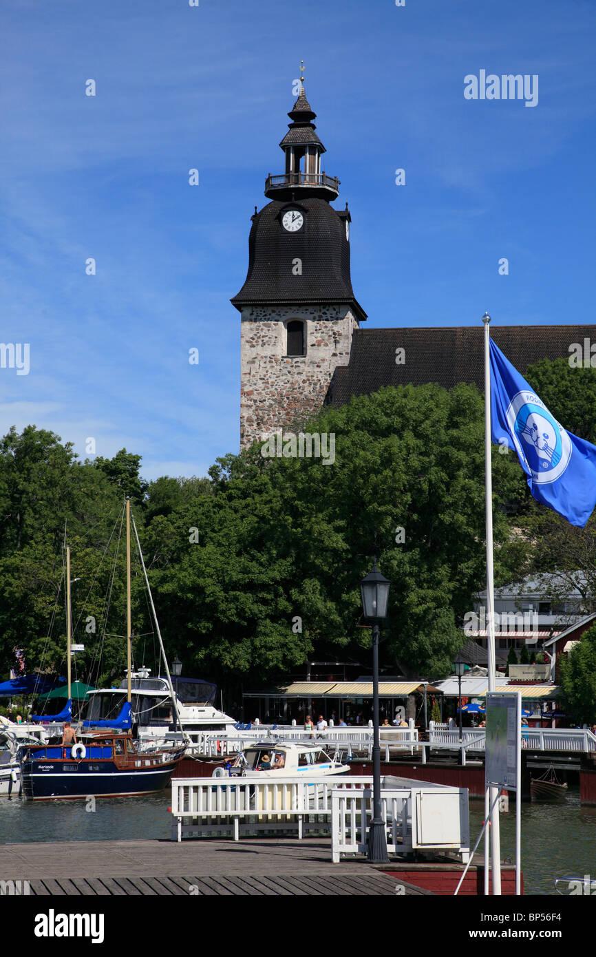 Finland, Naantali, harbour, seaside resort, Convent Church, - Stock Image