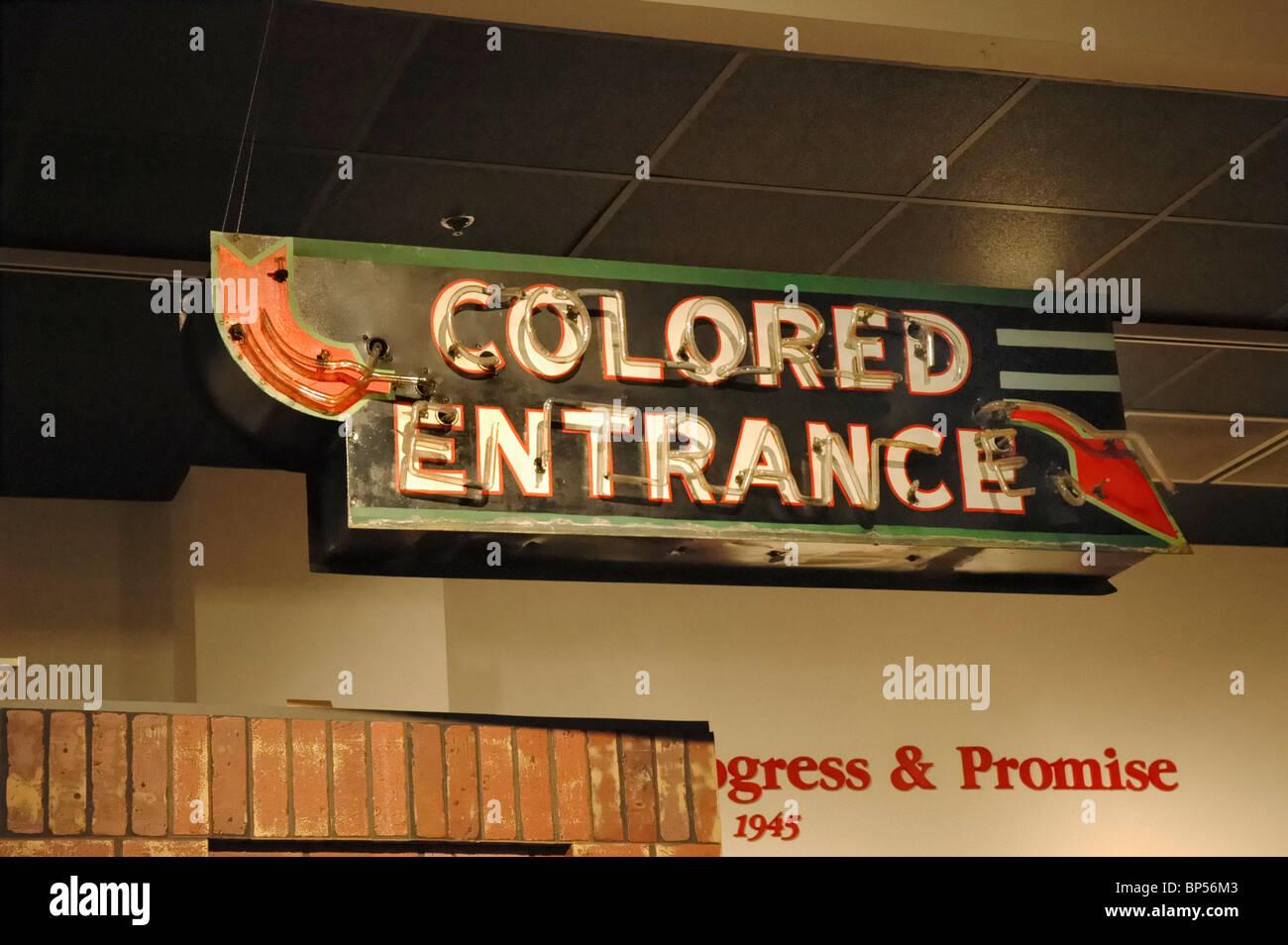 segregation sign colored entrance at Museum of Mobile Mobile Alabama - Stock Image