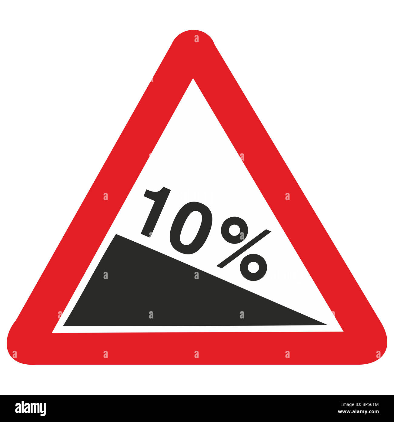 uk road sign steep hill gradient down slope downhill 10 percent ten - Stock Image