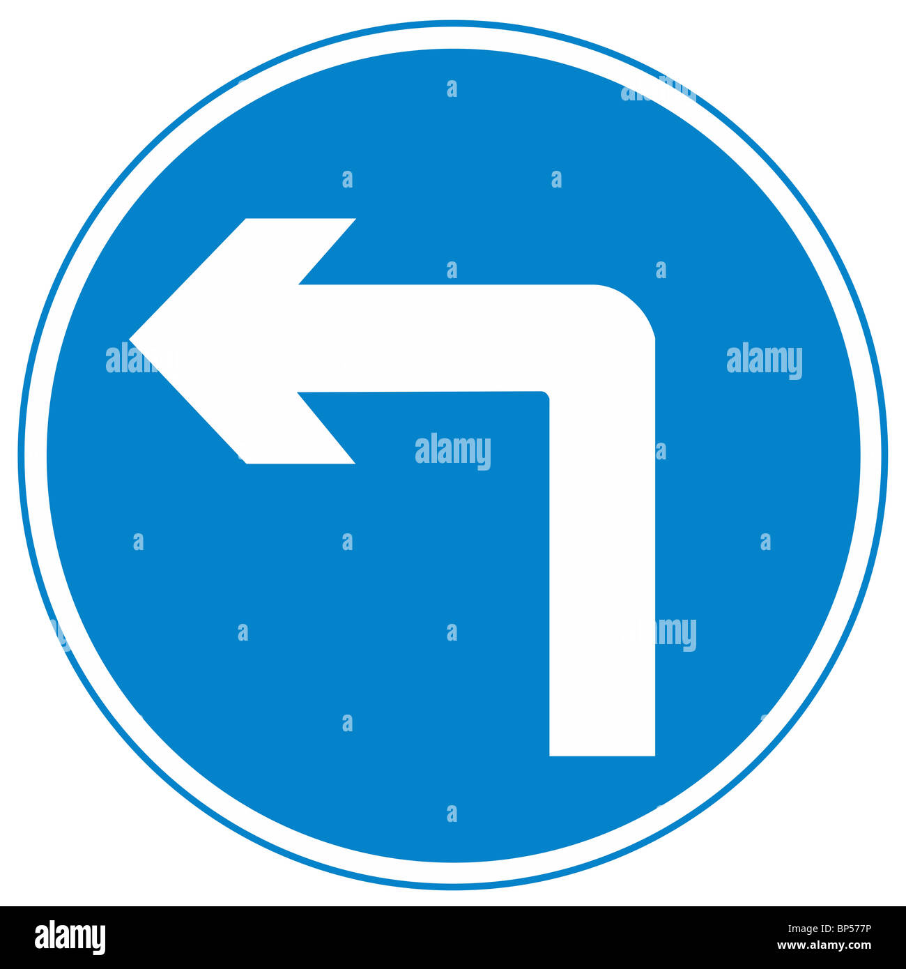 Uk Road Sign One Way Street At Left Turn Arrow Blue White Stock