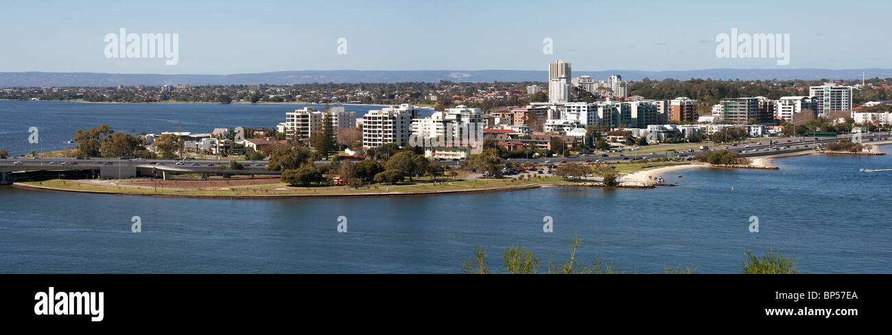 Panorama view across the Swan river to the suburbs around South Perth, Western Australia - Stock Image