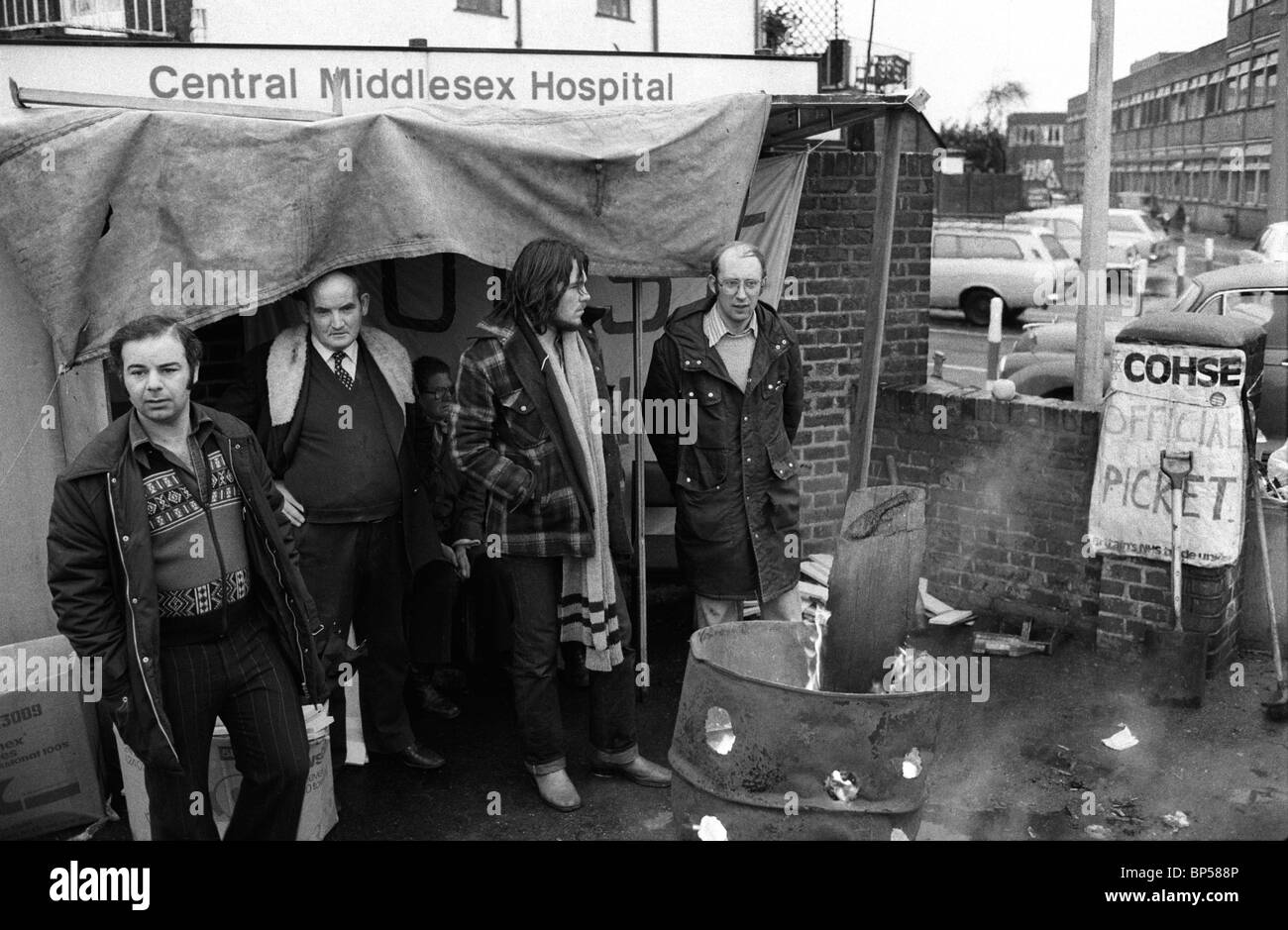 'Winter of Discontent', London. Central Middlesex Hospital. COHSE official Picket Line. London 1978 HOMER - Stock Image