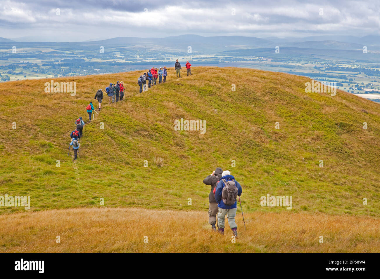 A Rambling Club on Craig Rossie near Auchterarder - Stock Image