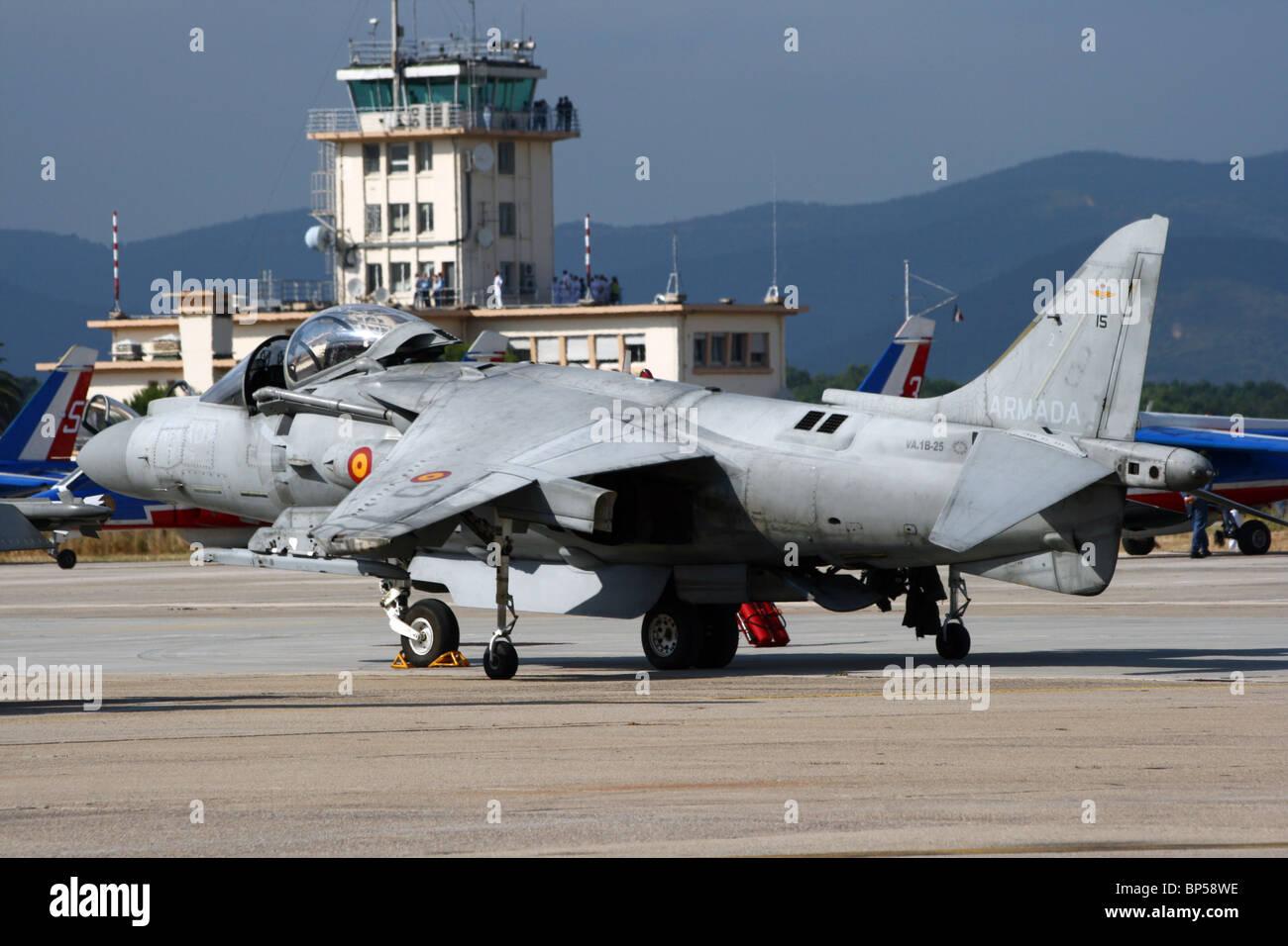 Spanish Navy AV-8B Harrier fighter jet at the French Navy base Hyeres. Stock Photo
