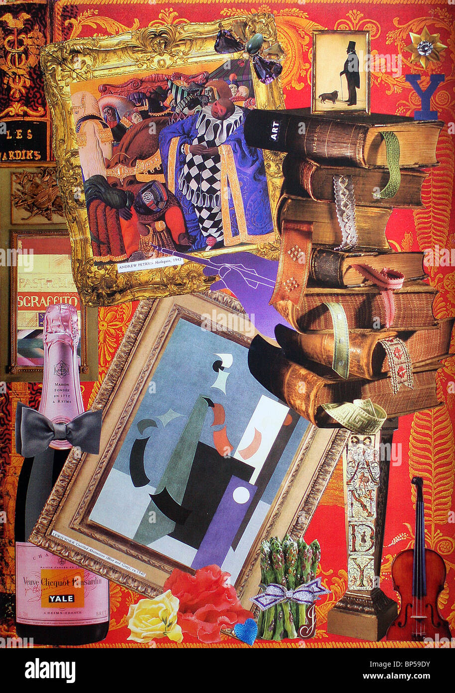 A collage by artist Janet Robinson who makes custom collages for people which are a portrait of all aspects of their - Stock Image