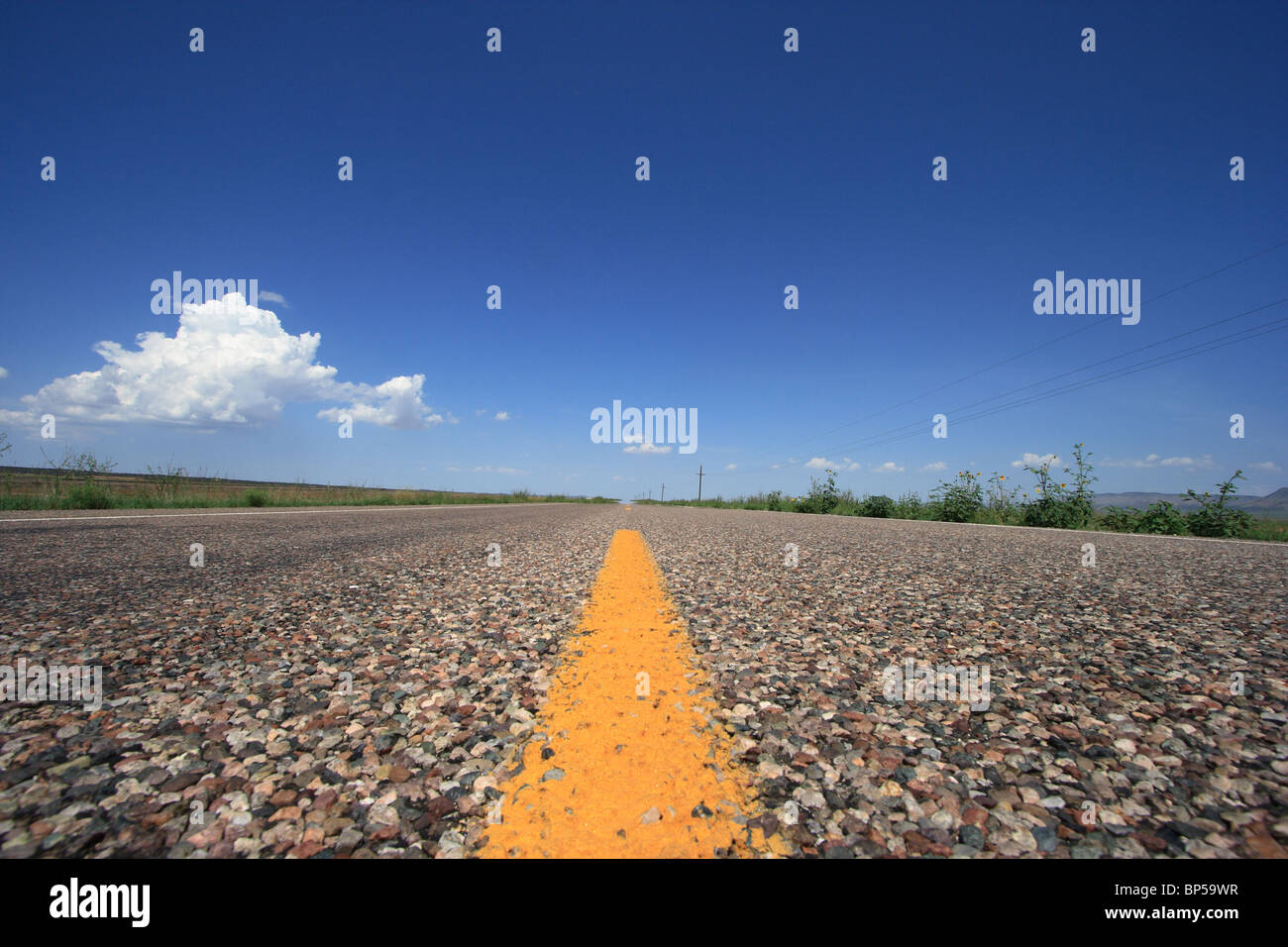 Road marking on a straight highway, Groom, USA - Stock Image