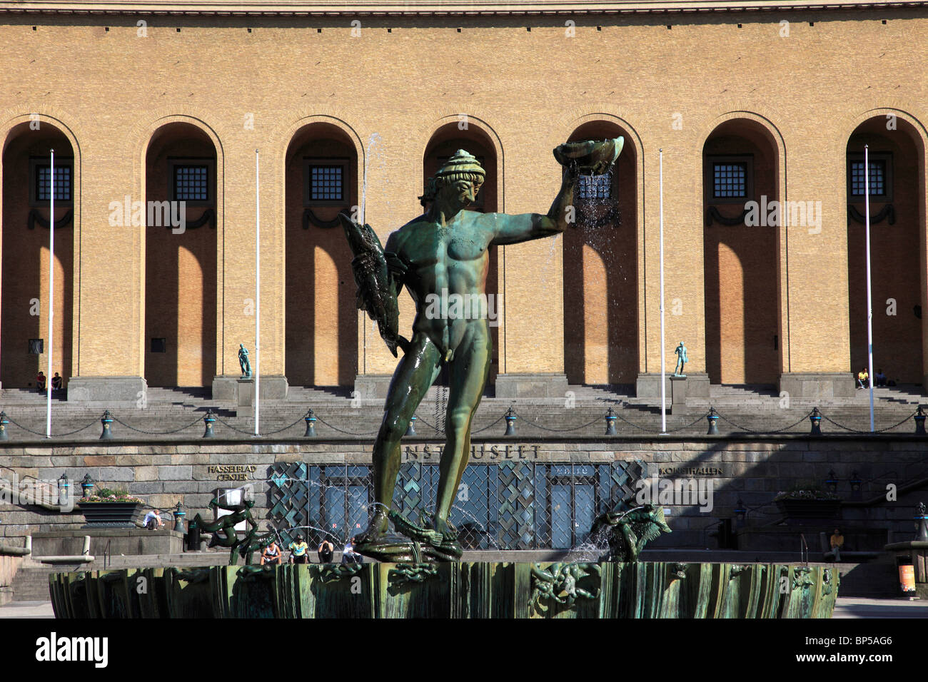 Sweden, Göteborg, Gothenburg, Poseidon statue, Art Museum, - Stock Image