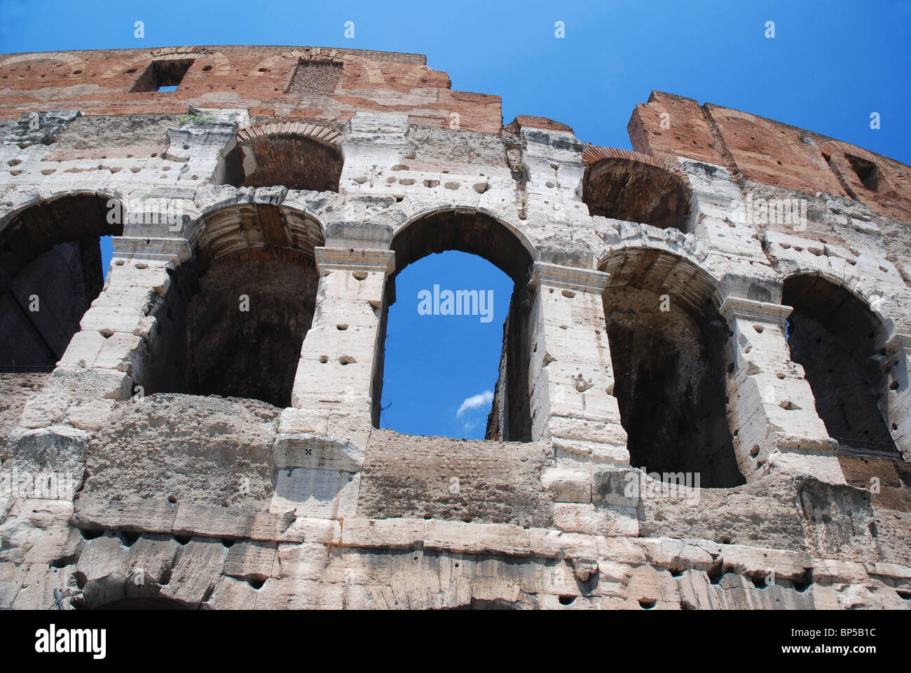Wall of the Colosseum (or Coliseum), Rome, Italy - Stock Image