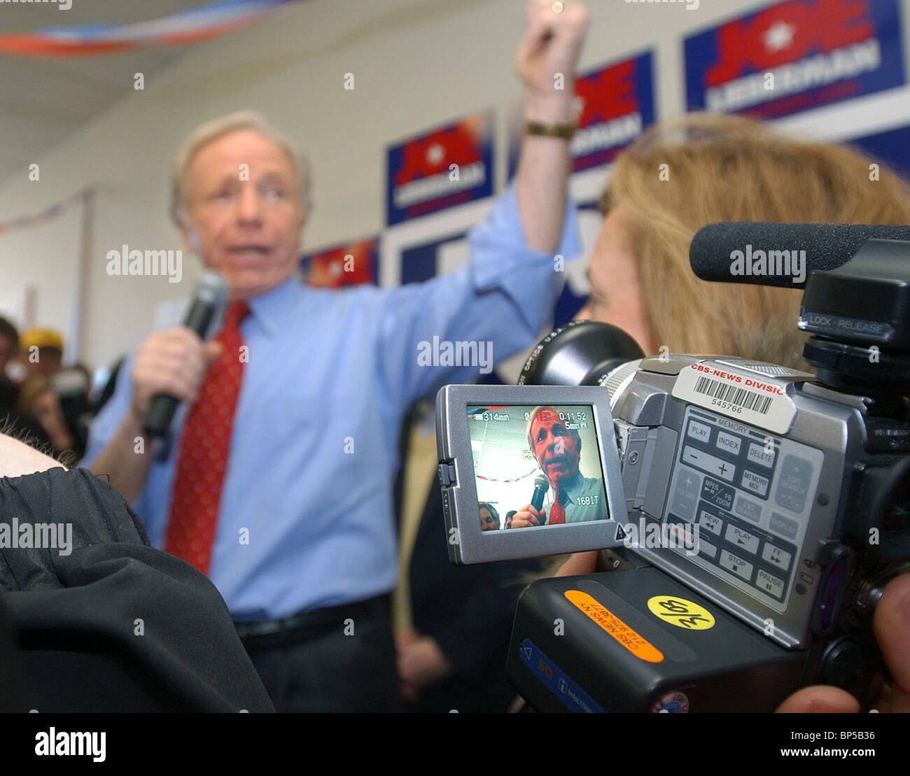 Senator Joe Lieberman of Connecticut shown in TV monitor as he ran for president in 2004 during the New Hampshire - Stock Image