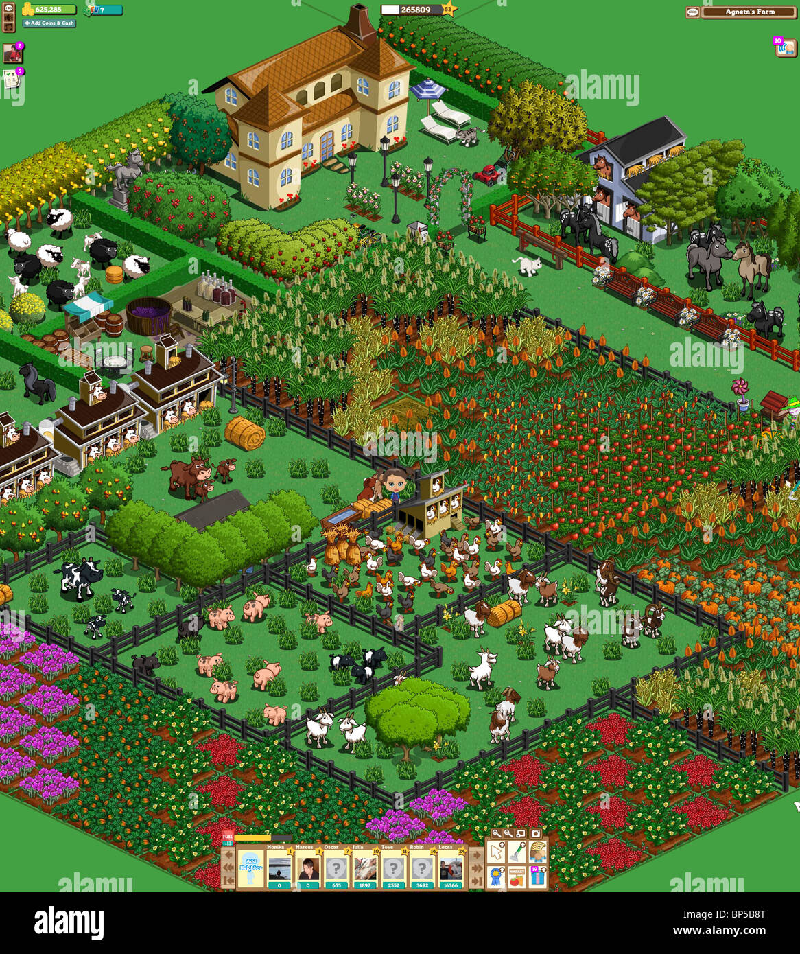 Farmville. Screenshot from a hi-res screen. Farmville is an online computer game within Facebook, with millions - Stock Image