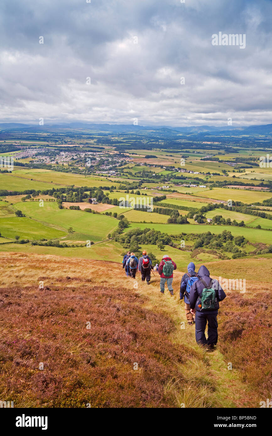 A Rambling Club descending from Craig Rossie to Auchterarder - Stock Image