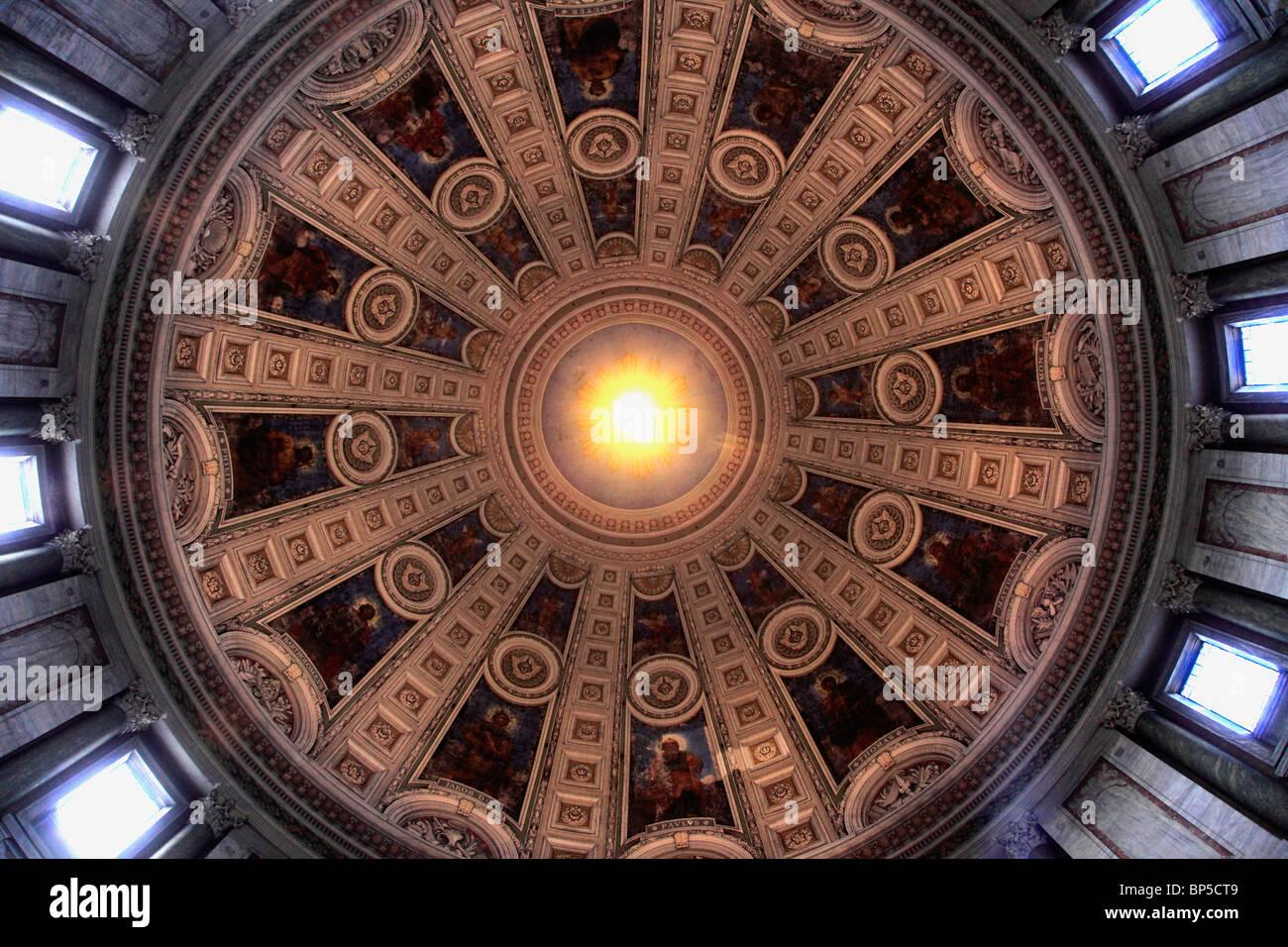 Denmark, Copenhagen, Marble Church, interior, cupola, - Stock Image
