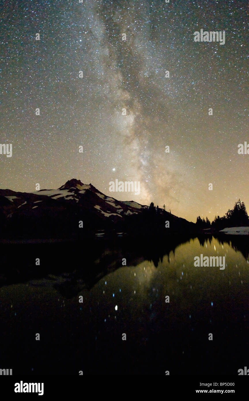 Oregon, United States Of America; Milky Way Over Mt. Jefferson - Stock Image