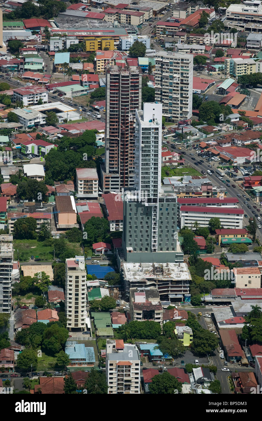 aerial view above residential high rises Panama City Republic of Panama - Stock Image