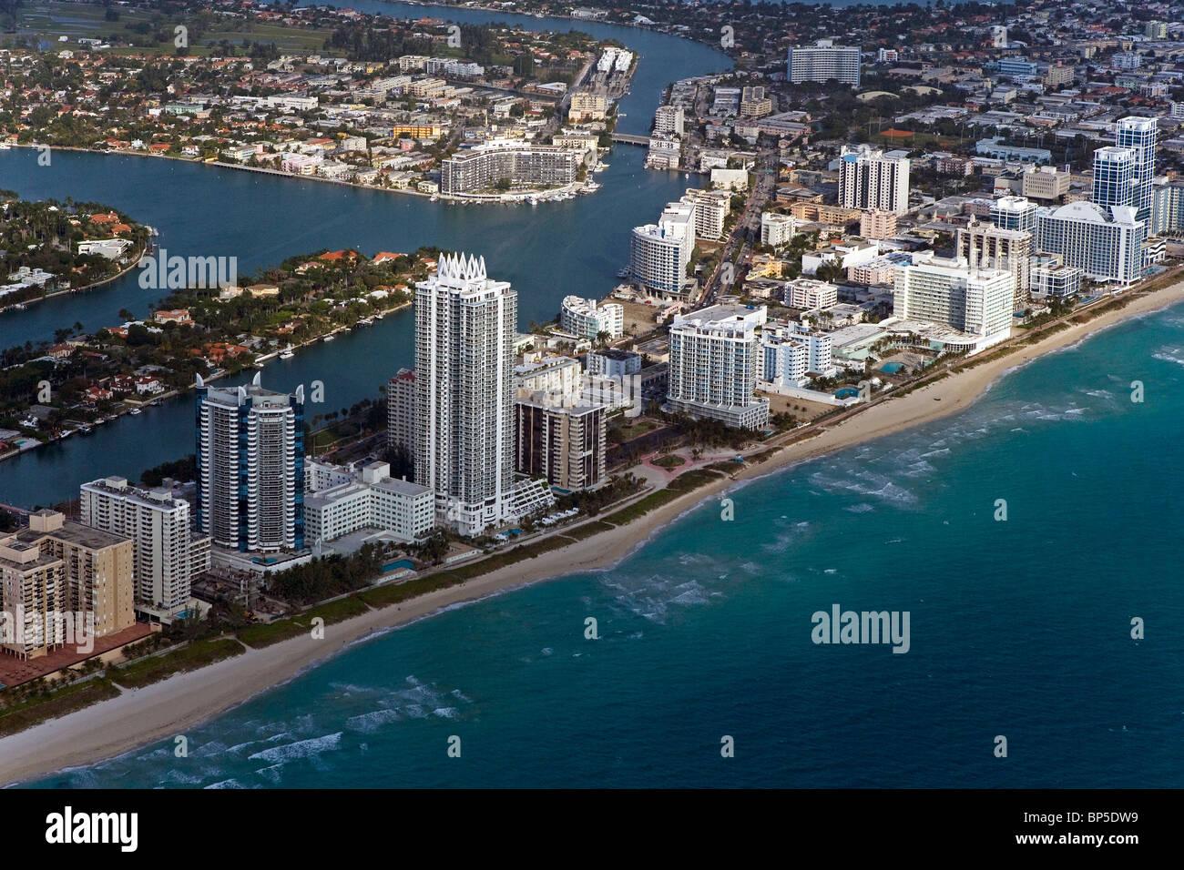 aerial view above Miami Beach Florida - Stock Image