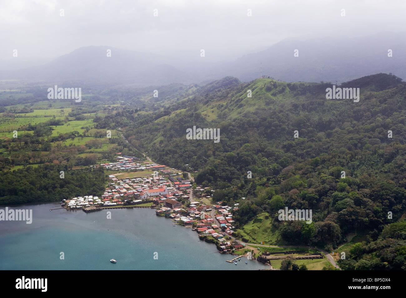 aerial view above Portobelo Republic of Panama Stock Photo