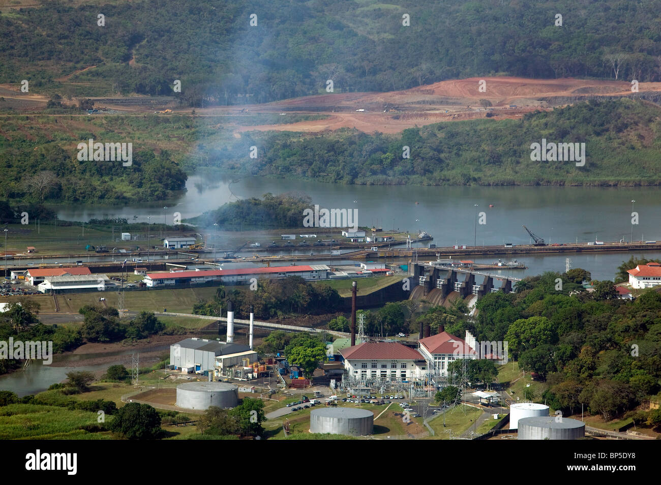 aerial view above power plant Panama Canal - Stock Image