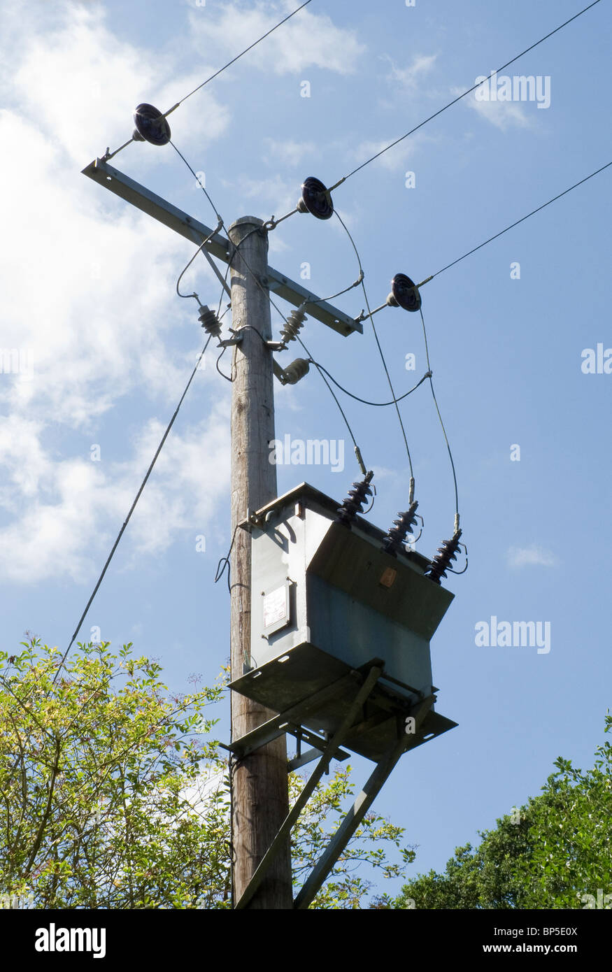 Pole mounted three phase transformer-1 - Stock Image