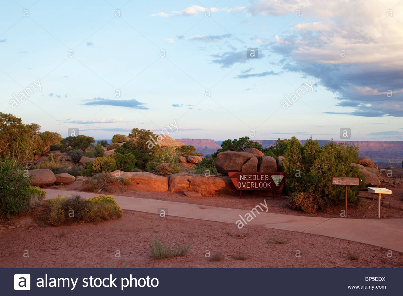 Needles Overlook BLM Canyonlands Area southeastern Utah Bureau of Land Management sign - Stock Image