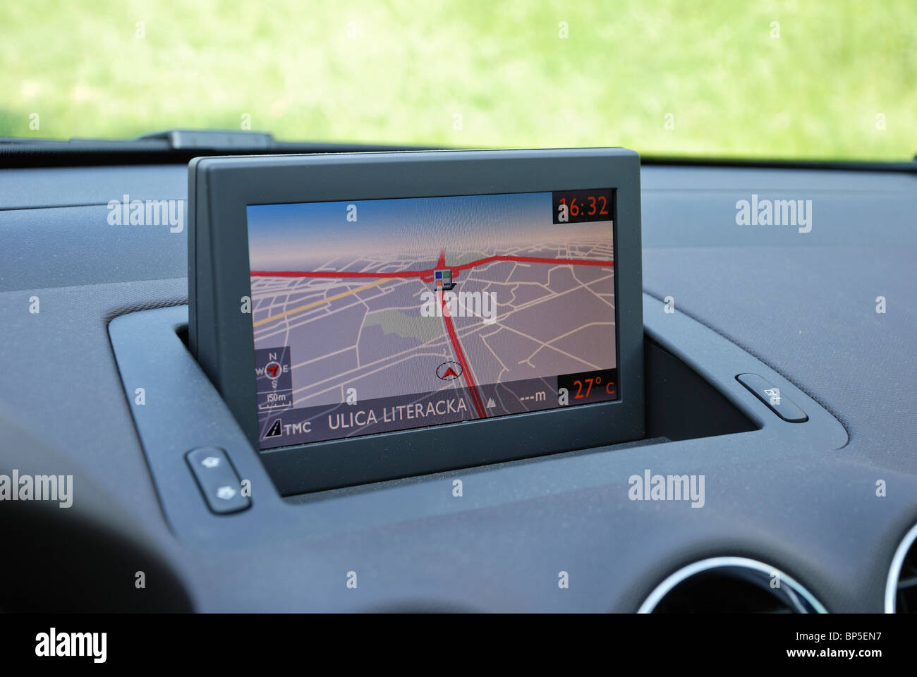 sat nav car satellite navigation system color folded lcd display stock photo 30854131 alamy. Black Bedroom Furniture Sets. Home Design Ideas