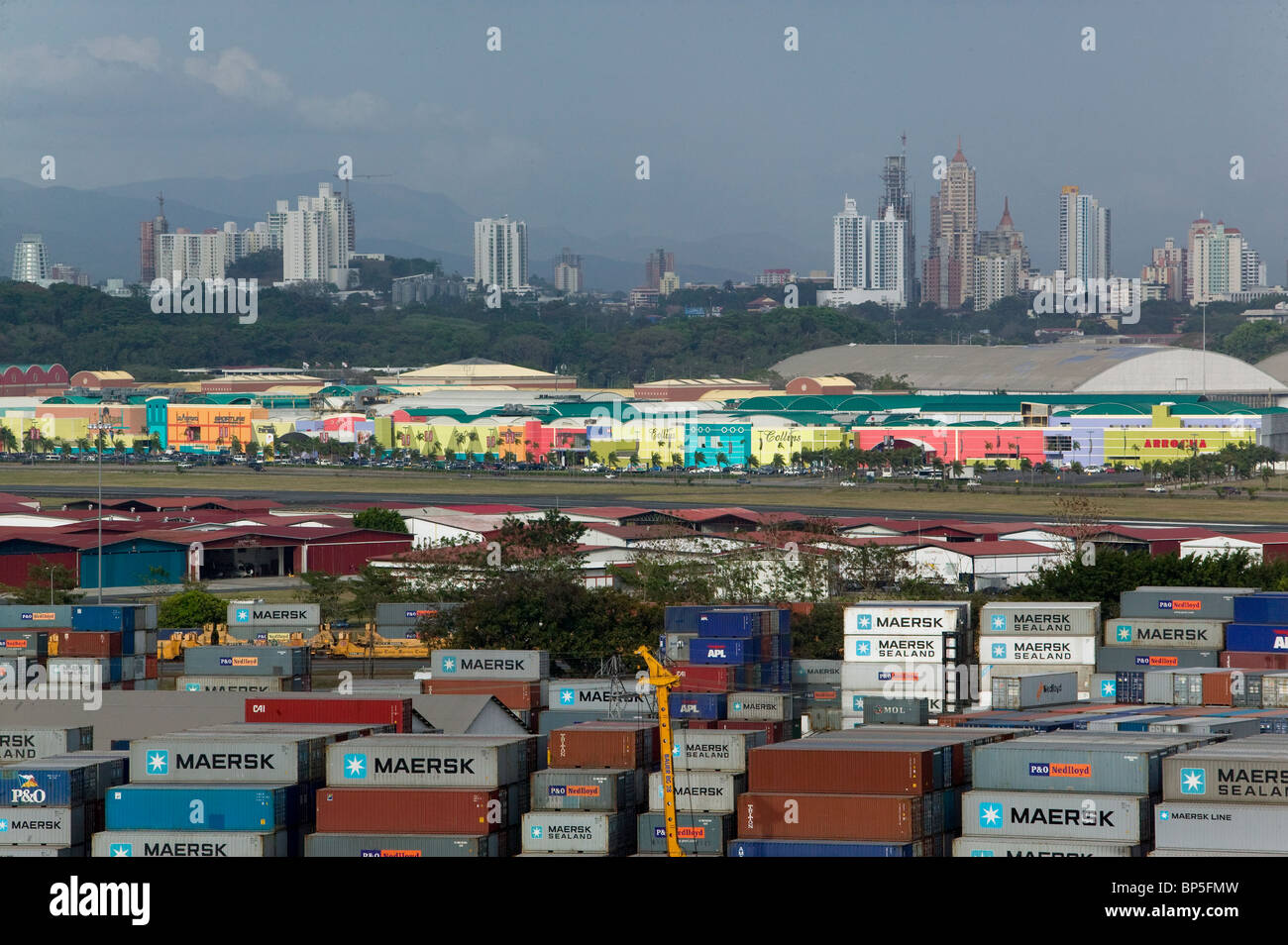 aerial view above containers Balboa Port Allbrook Mall Panama City skyline - Stock Image