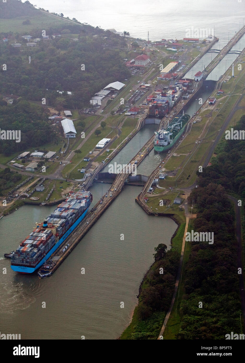 aerial view above container ships Gatun Locks Panama Canal - Stock Image