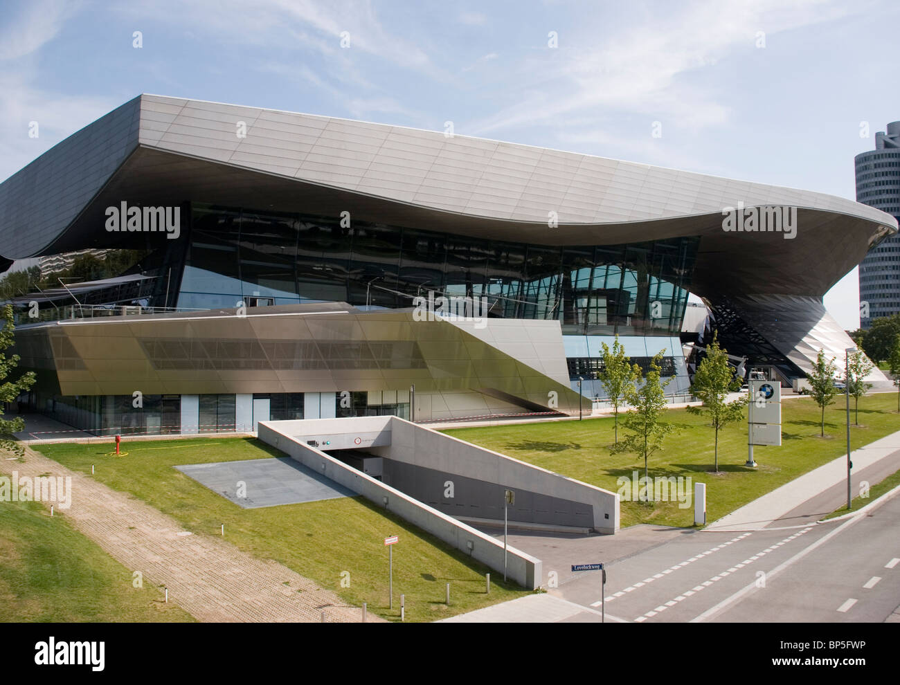 The BMW Museum is located near the Olympiapark in Munich and was established in 1972 shortly before the Summer Olympics - Stock Image