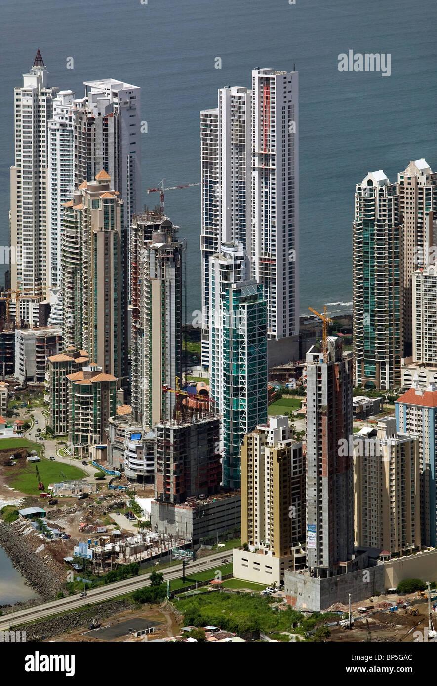 aerial view above high rises Panama City Republic of Panama - Stock Image