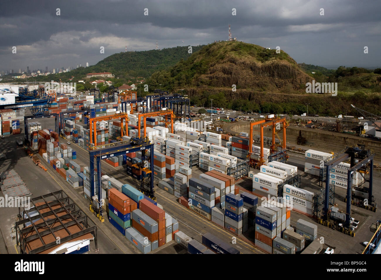 aerial view above containers Balboa Port Panama City Republic of Panama - Stock Image