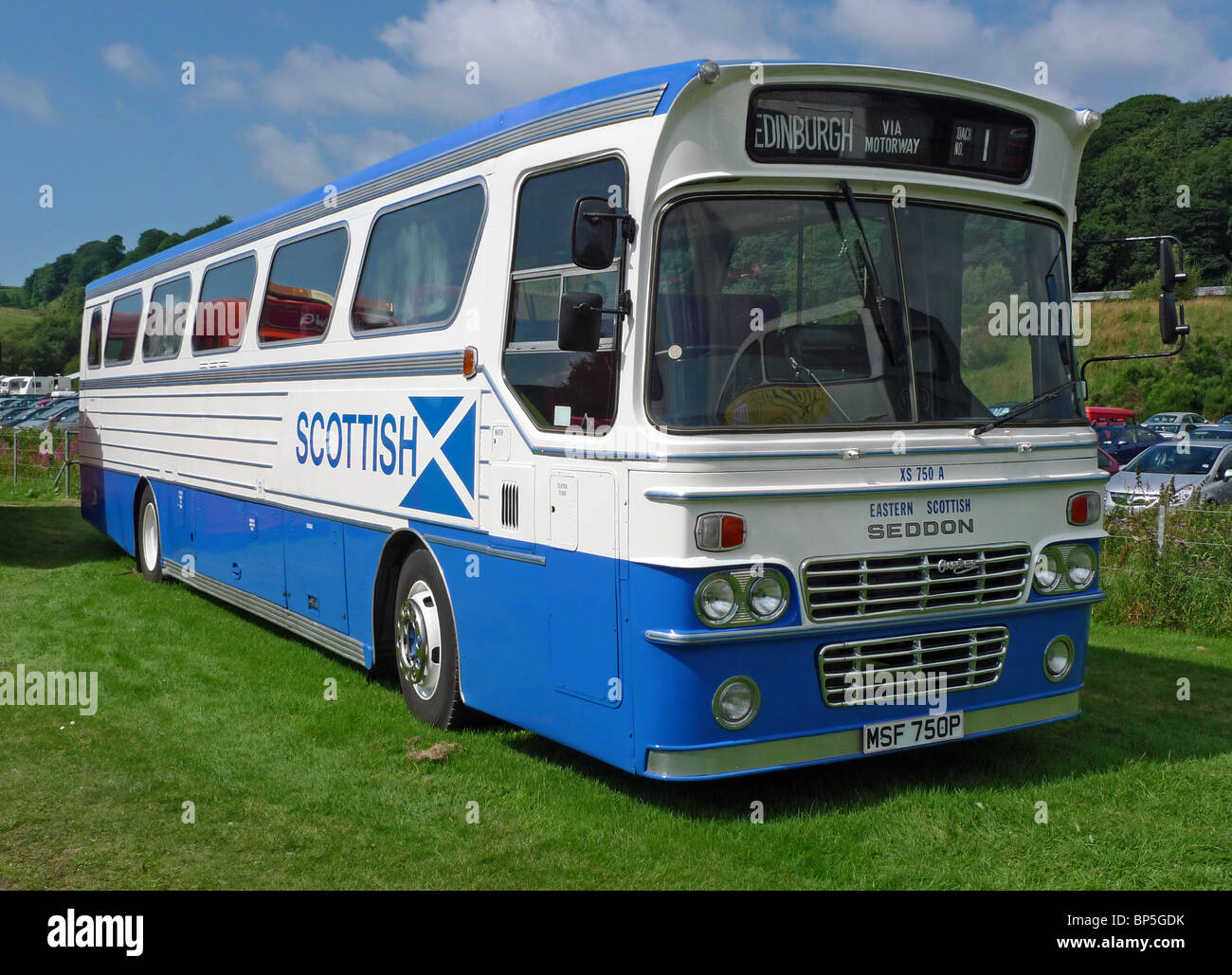 Restored Walter Alexander built M type coach in Eastern Scottish livery at The Scottish Vintage Bus Museum Lathalmond - Stock Image