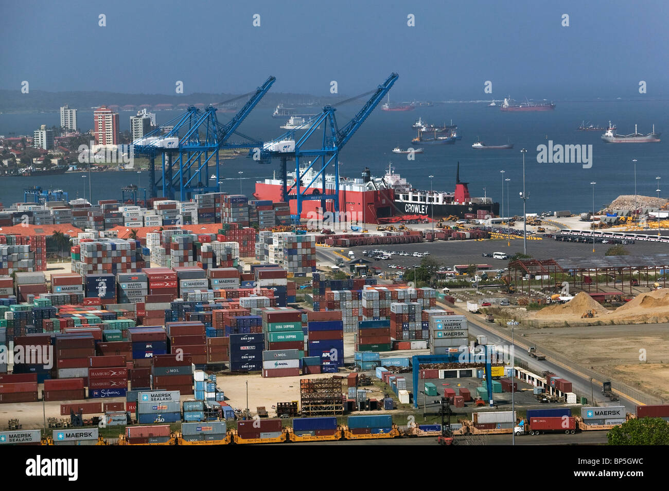 aerial view above containers cranes Cristobal port Colon Republic of Panama - Stock Image