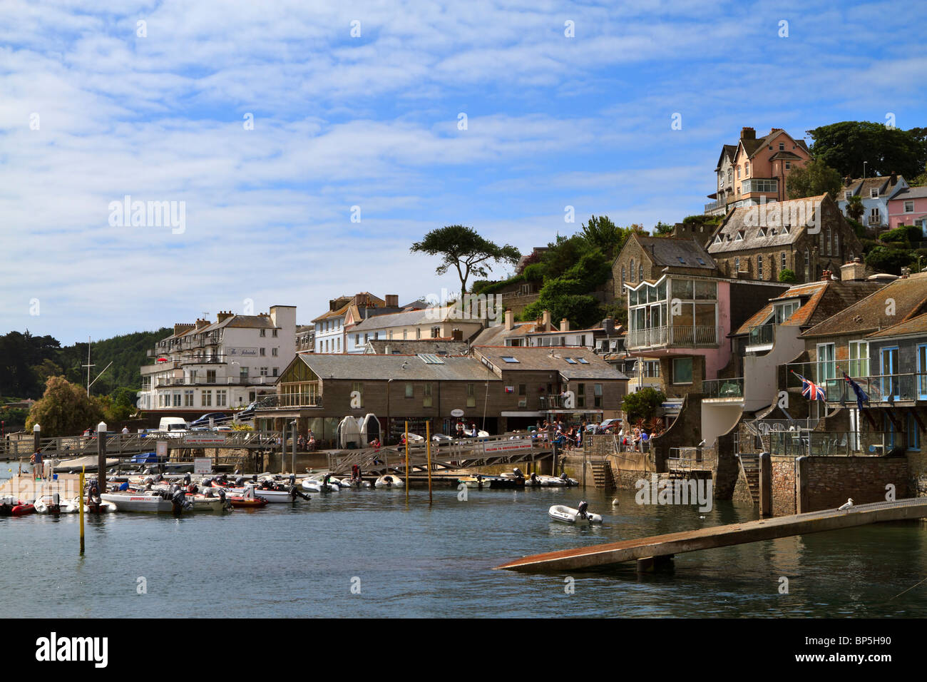 The busy waterfront of Salcombe, South Hams, Devon - Stock Image
