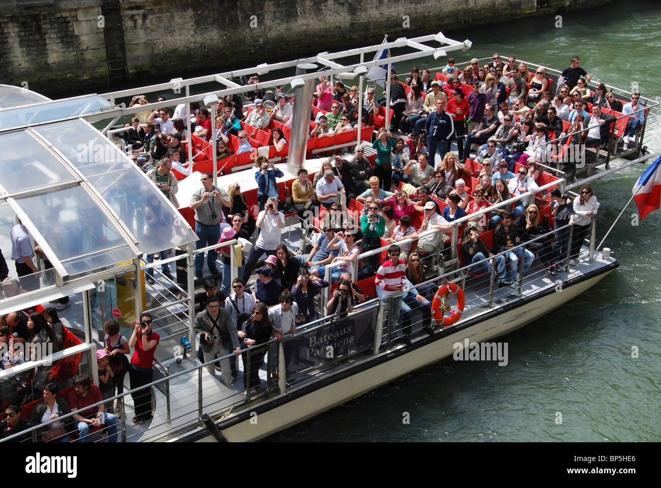 boat trip on the Seine, Paris France - Stock Image
