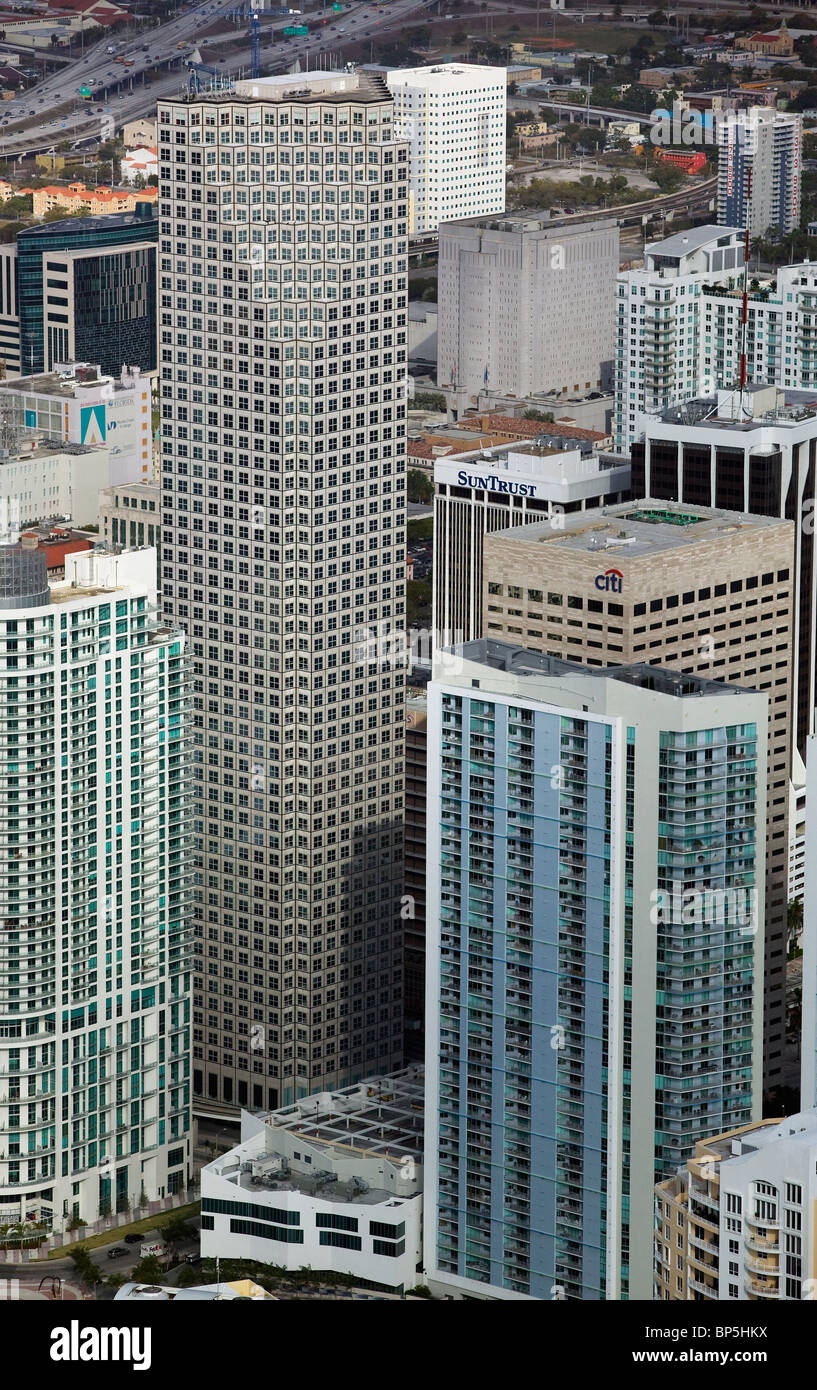 aerial view above Wachovia Financial Center central business district downtown Miami Florida - Stock Image