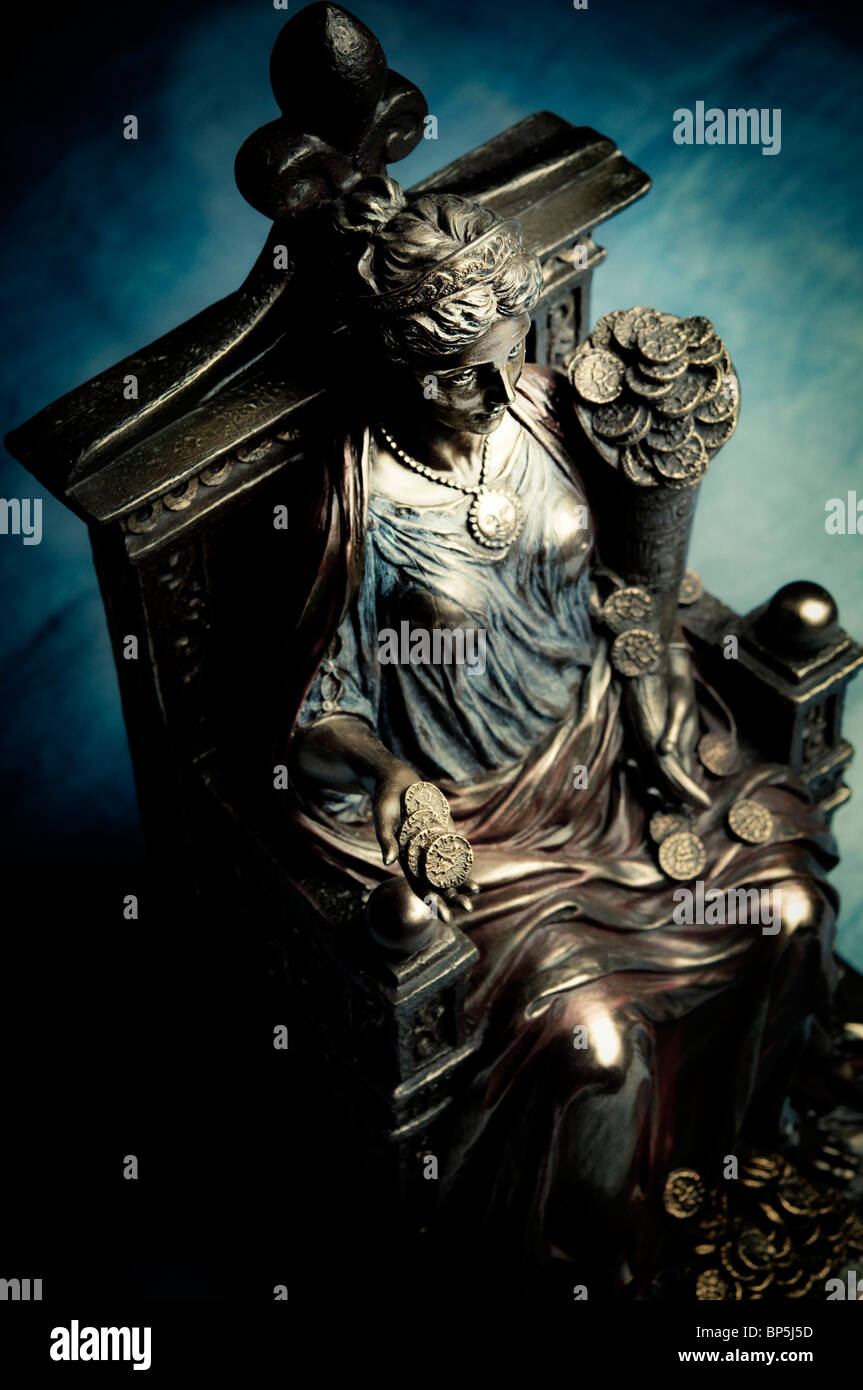 statue of ancient Roman goddess Fortune or Fortuna - Stock Image