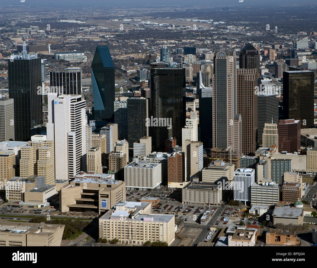 aerial view above skyline downtown Dallas Texas - Stock Image