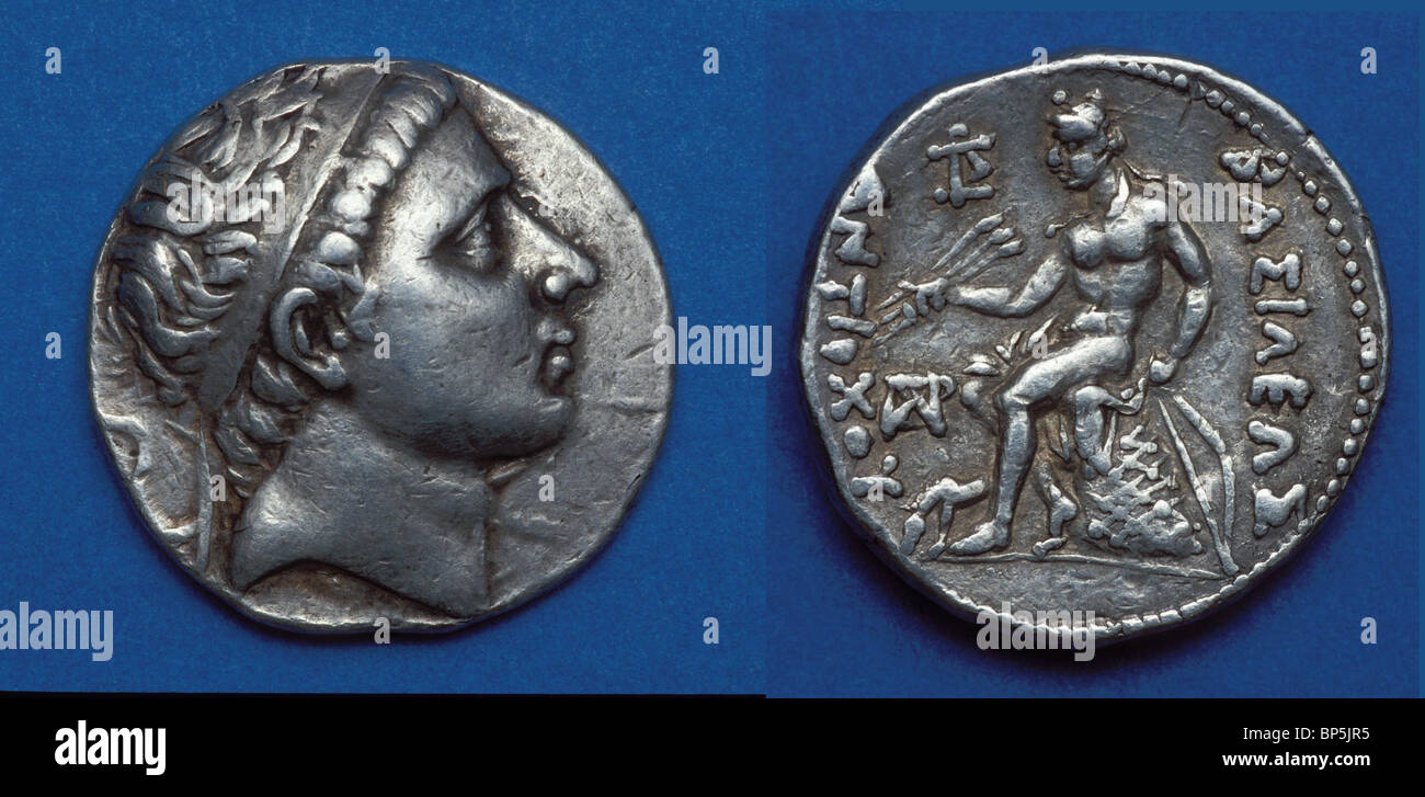 4217. SILVER COIN WITH THE BUST OF THE SELUCID KING ANTIOCHUS II. THEOS, 261-246 BC - Stock Image