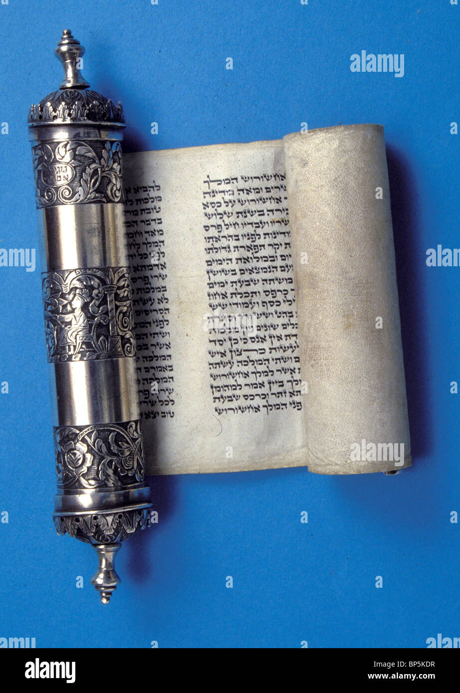 5142. ESTHER SCROLL, TEXT READ ON PURIM, A FESTIVAL COMMEMORATING THE DELIVERANCE OF JEWS IN PERSIA FROM MASSACRE - Stock Image