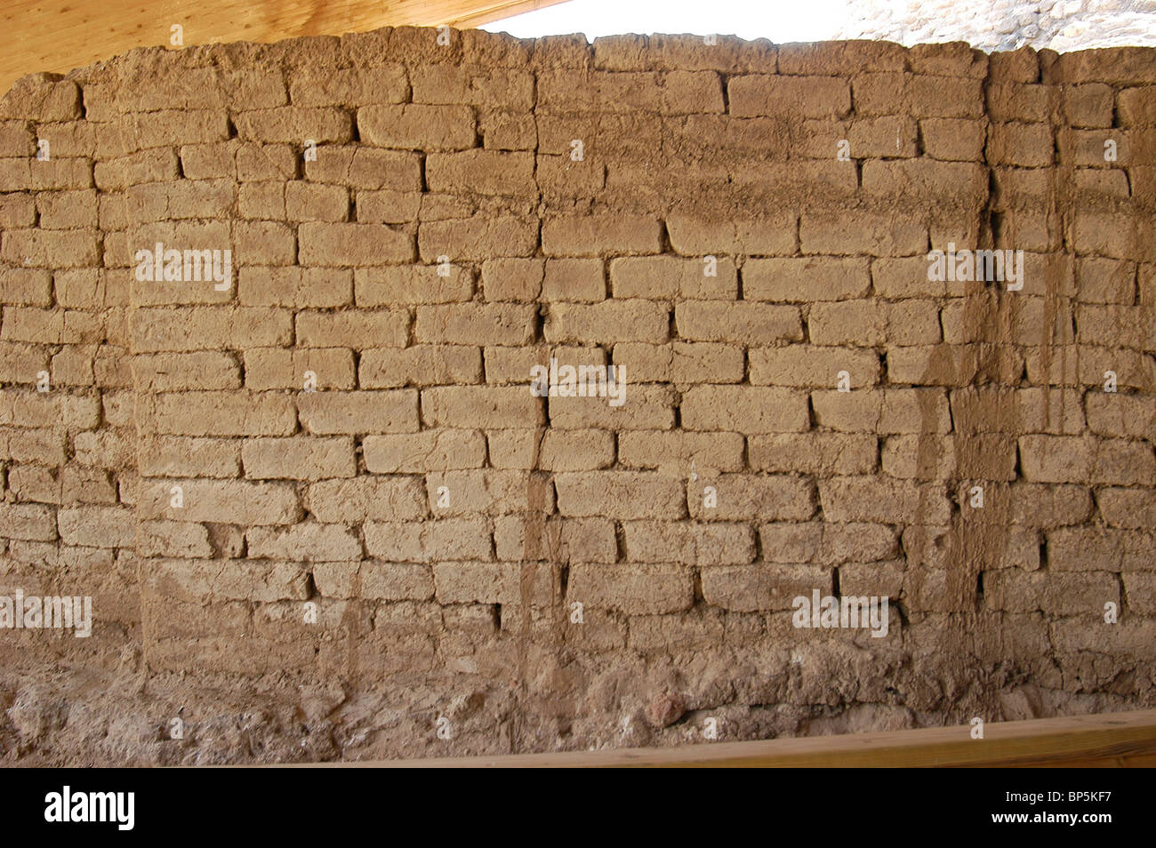Ashkelon, the Canaanite gate. Mud bricks, section of the main city gate and towers of Canaanite Ashkelon, dating - Stock Image