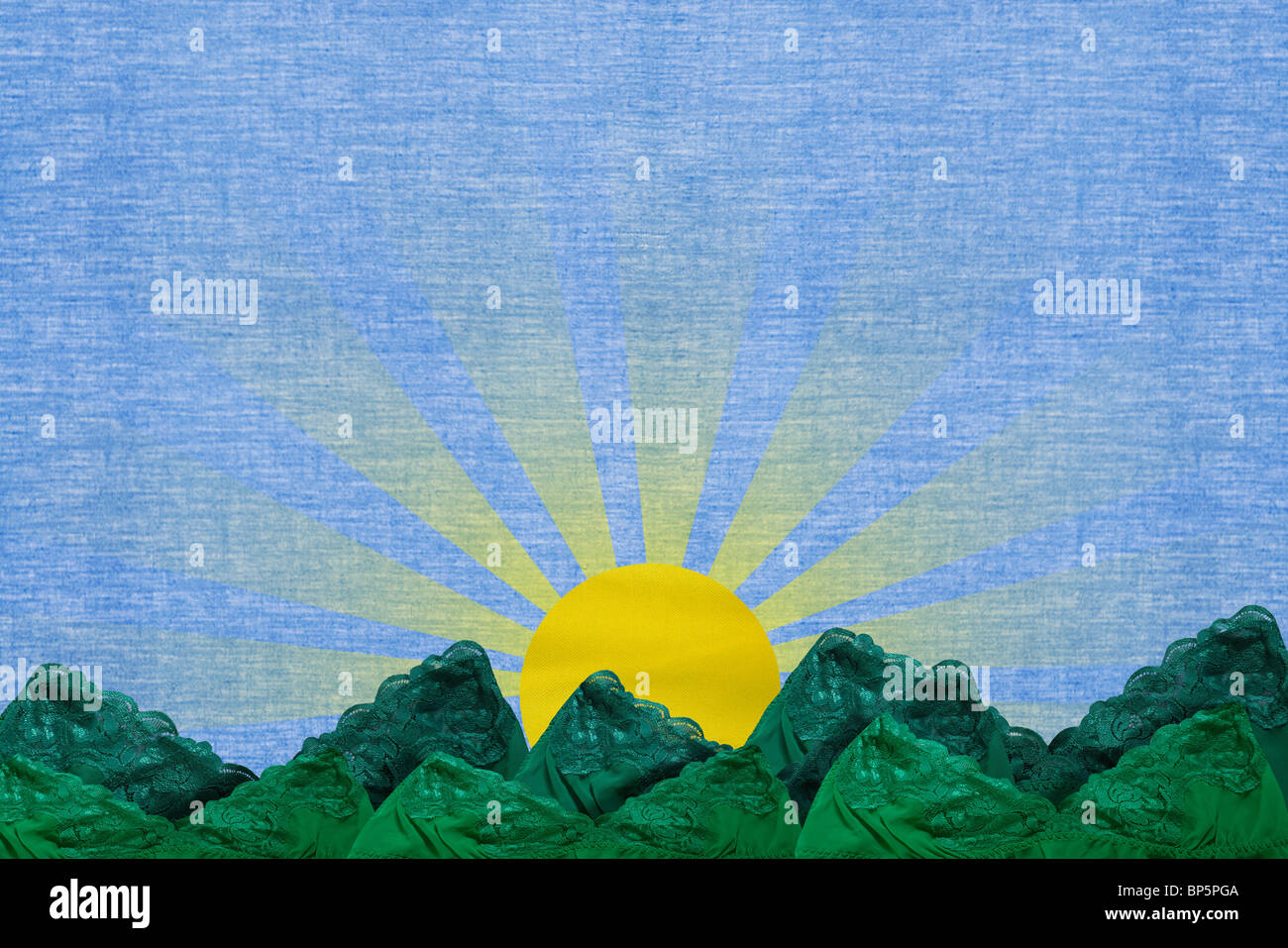 Sun shining over rural scene - Stock Image