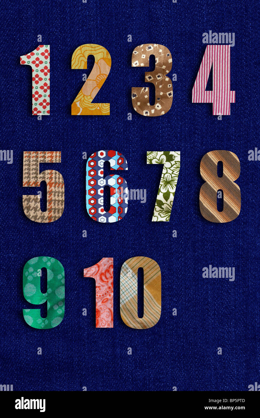 Patchwork numbers - Stock Image