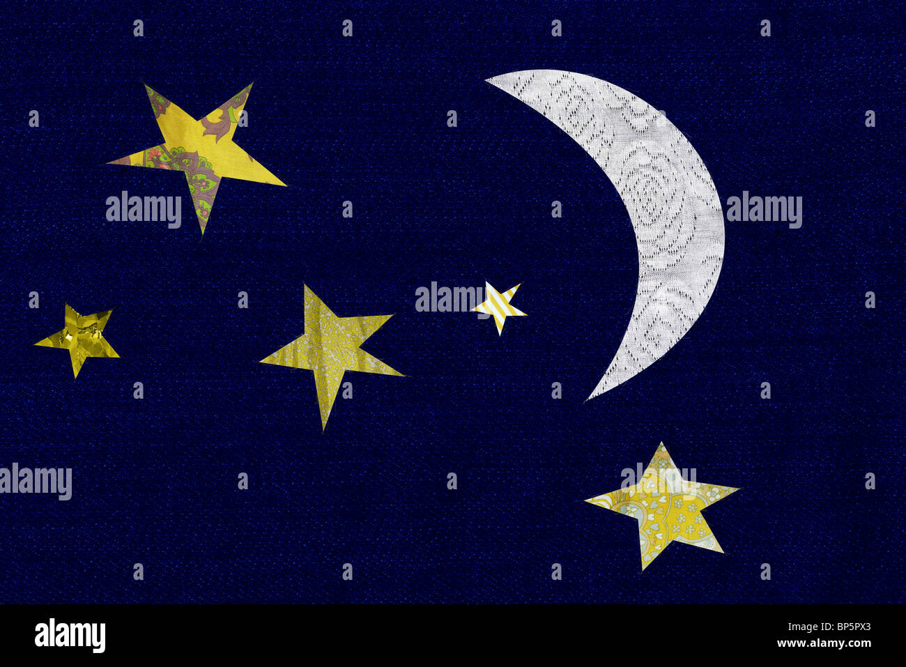Crescent moon and stars - Stock Image