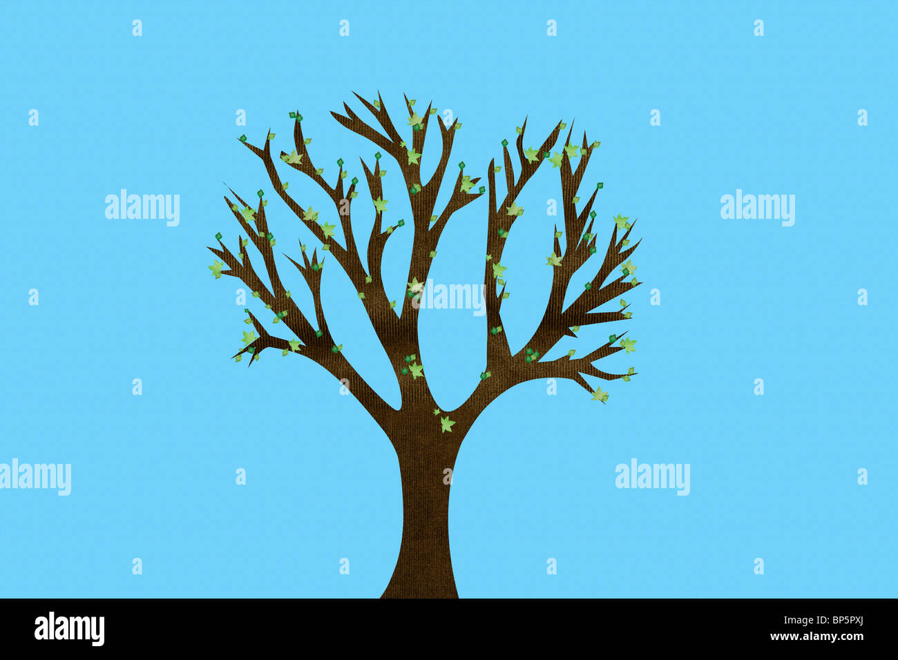 Bare tree in autumn - Stock Image