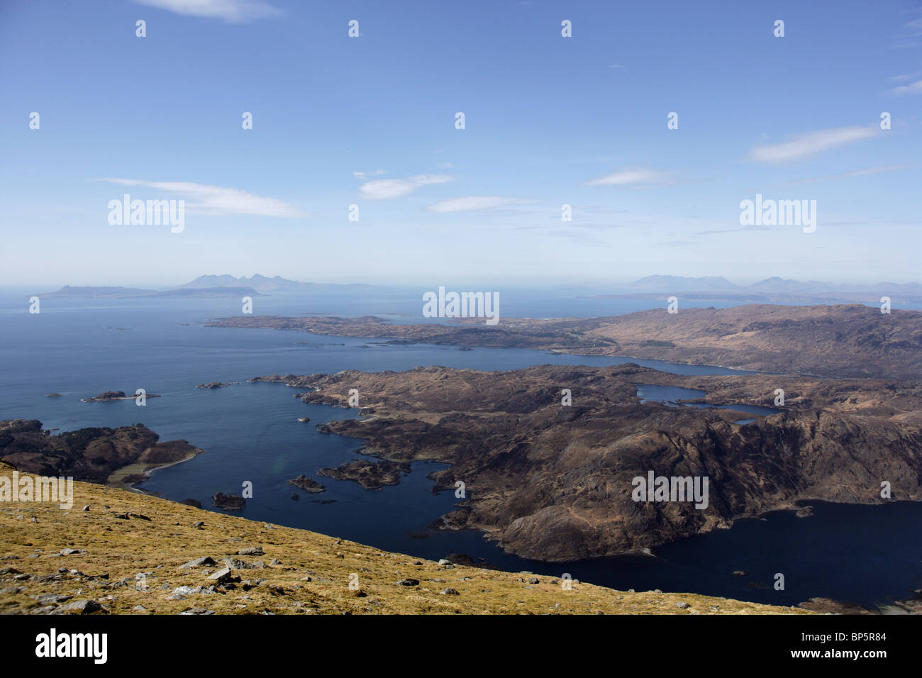View from the Corbett Rois-bheinn looking onto Loch Ailort and the Hebrides - Stock Image
