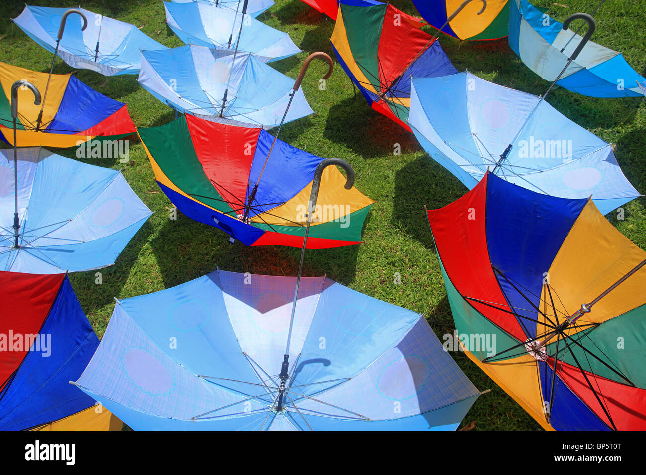 Umbrellas for sun protection, borobudur, indonesia - Stock Image