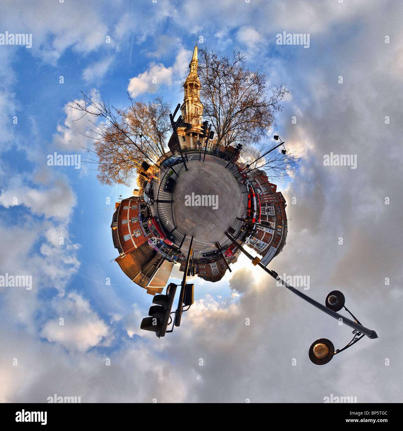 Shoreditch with little planet effect - Stock Image