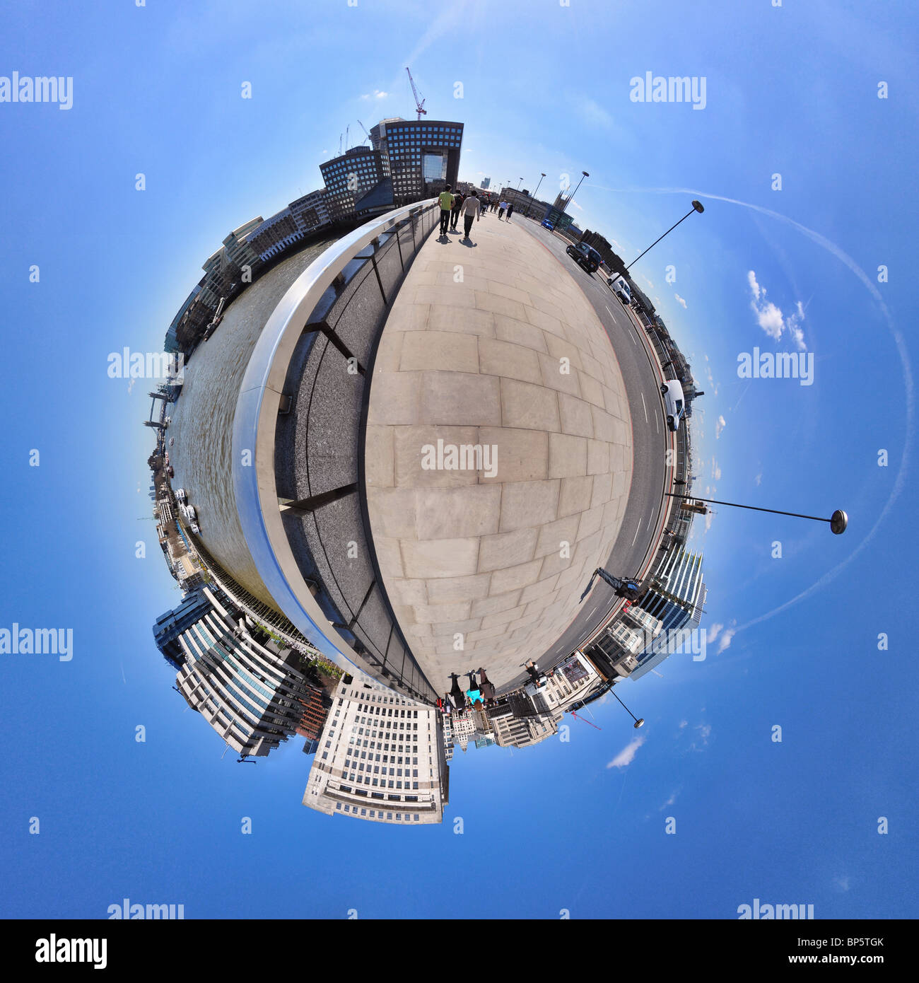 London bridge with little planet effect - Stock Image