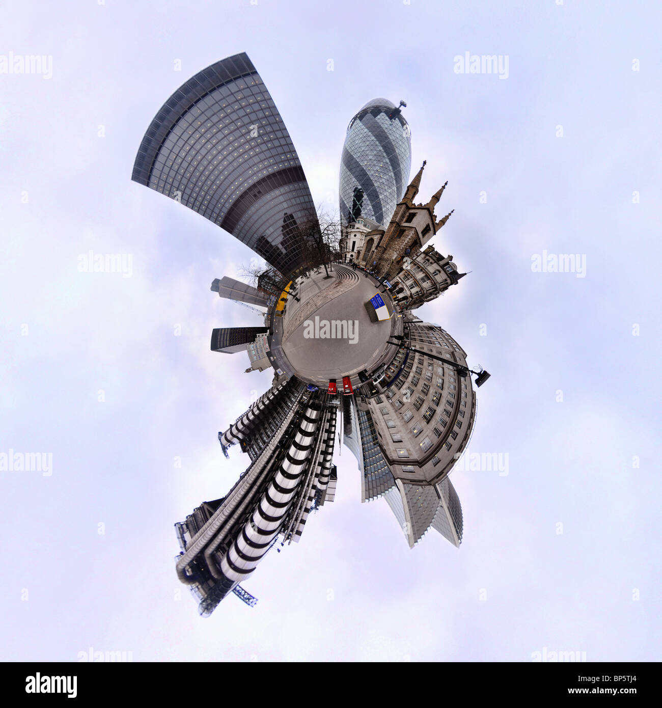 City of london with little planet effect - Stock Image