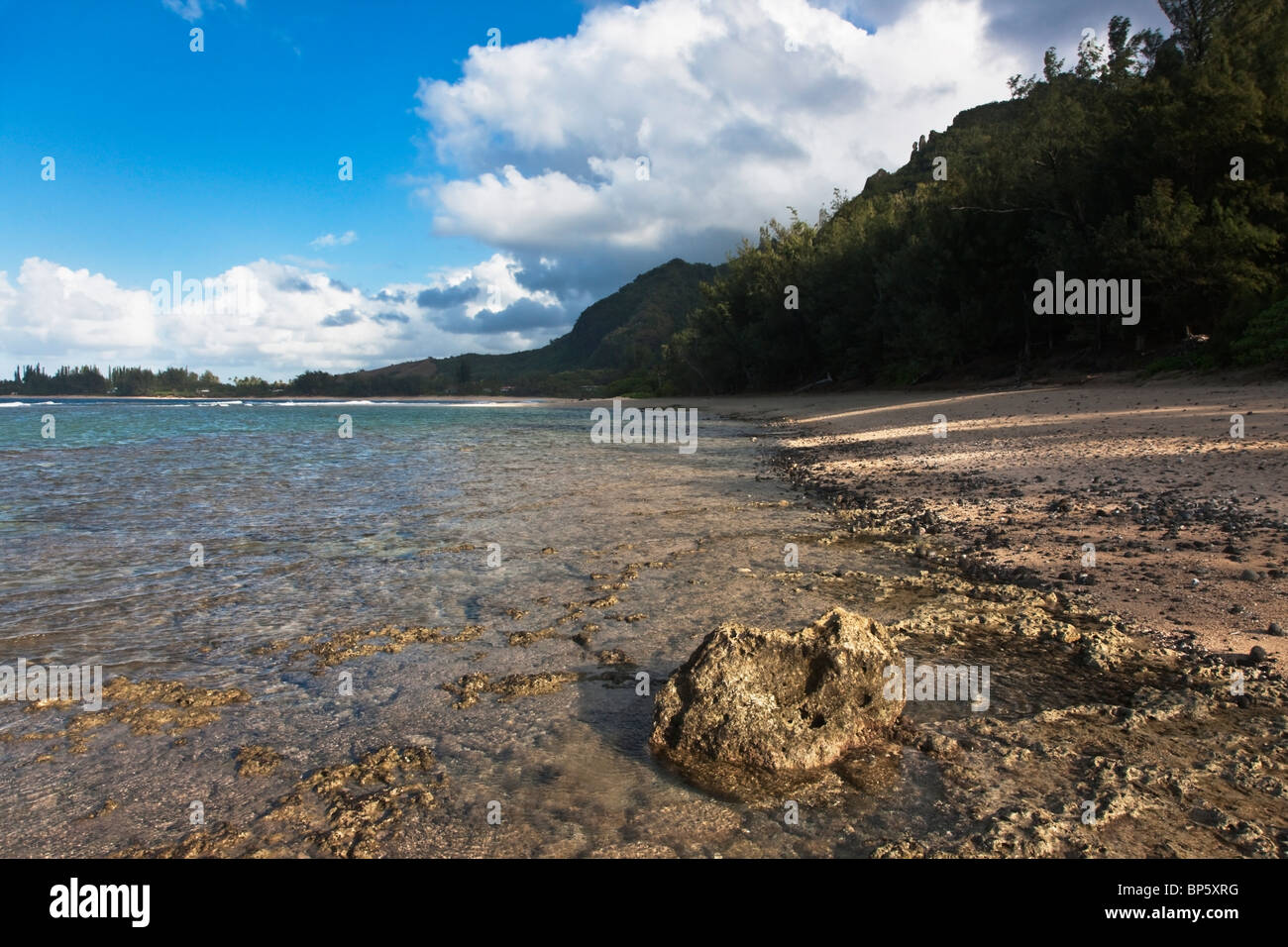 Kauai, Hawaii, United States Of America; Shallow Water Covers A Flat-Topped Coral Reef Along The North Shore Of Stock Photo